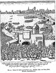 "Etching of the expulsion of the Jews from Frankfurt in 1614. The text says: ""1380 persons old and young were counted at the exit of the gate""."