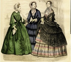 Necklines plunged further, needing a chemisette to be worn underneath. Sleeves widened at the elbow, while bodices ended at the natural waistline. Skirts widened and were further emphasised by the addition of flounces.