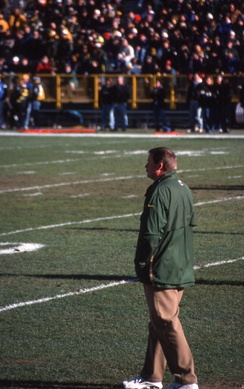 Holmgren, one of three Packer coaches to win a Super Bowl, pictured in 1998