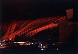Night attack of a U.S. Air Force Douglas AC-47D Spooky gunship over Saigon in 1968. This time lapse photo shows the tracer round trajectories.