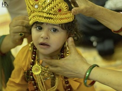 Dressing up babies as Krishna or Gopis on Janmashtami festival is a popular Hindu tradition.