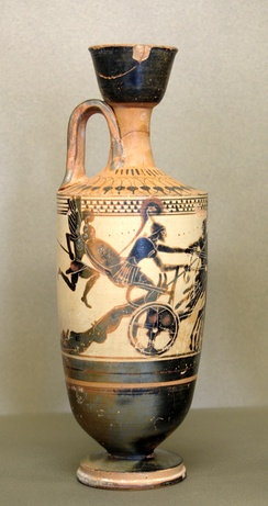 Black-figure, white-background lekythos by the Diosphos Painter showing Achilles in a chariot dragging the corpse of Hector behind him, ca. 490 BC, found in Eretria, now in the Louvre, Paris