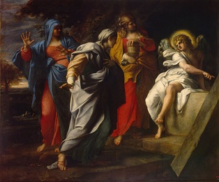 "Holy Women at Christ's Tomb (c. 1590s) by Annibale Carracci. In Matthew 28:1–10, Mary Magdalene and ""the other Mary"" encounter an angel at the tomb, who tells them that Christ has risen.[72][73][74]"
