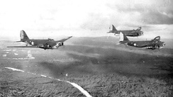 B-18s of the 12th Bombardment Squadron flying over British Guiana