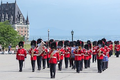 The band of the Royal 22nd Regiment at the Citadelle of Quebec, in 2018. The band is one of 59 bands in the Canadian Armed Forces.