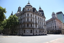 The Buenos Aires City Hall in the right corner of entrance to the Avenida de Mayo