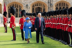 The guard of honour at Windsor Castle for the arrival of Elizabeth II and U.S. President Donald Trump, July 2018