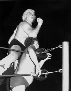 Rhodes battling Harley Race at an NWA event