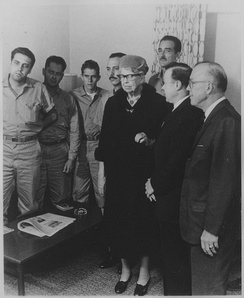Eleanor Roosevelt, Walter Reuther, Milton Eisenhower and the Cuban prisoner exchange delegation in Washington, D.C.