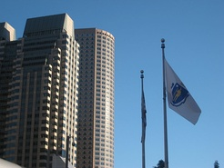 125 High Street, One International Place, and the Flag of Massachusetts in the Financial District near South Station