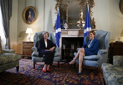 Scottish First Minister, Nicola Sturgeon, meeting with British Prime Minister, Theresa May, at Bute House in 2016.