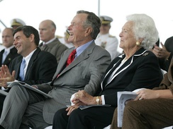 George and Barbara Bush attend the christening ceremony for the eponymous aircraft carrier USS George H.W. Bush, October 2006