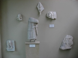 Surviving fragments of the statues decorating the outer gate of the Golden Gate complex, from the Istanbul Archaeological Museum.