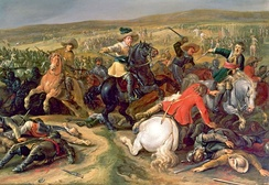 Swedish king Gustavus Adolphus leading a cavalry charge, 1634