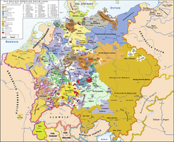 The Holy Roman Empire in 1648, after the Peace of Westphalia, which ended the Thirty Years' War