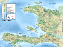 An enlargeable topographic map of Haiti
