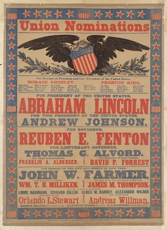 Campaign poster featuring Union nominations, 1864