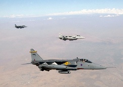 Three 54 Sqn Jaguar GR1As over northern Iraq in 2002.