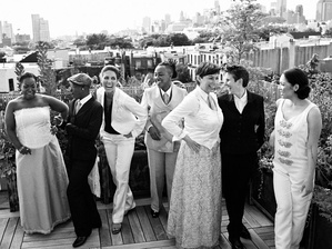 Lesbian wedding on Brooklyn rooftop, 2013. Same-sex marriage in New York was legalized in 2011.