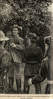 Lincoln depicted protecting a Native American from his own men in a scene often related about Lincoln's service during the Black Hawk War.