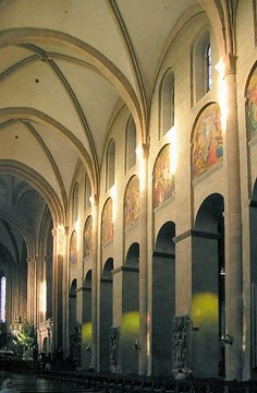 Mainz Cathedral, Germany, has rectangular piers and possibly the earliest example of an internal elevation of 3 stages. (Gothic vault)