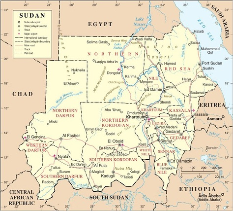 A map of Sudan. The Hala'ib Triangle has been under Egyptian administration since 2000.