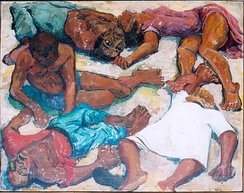 Painting depicting victims of the massacre