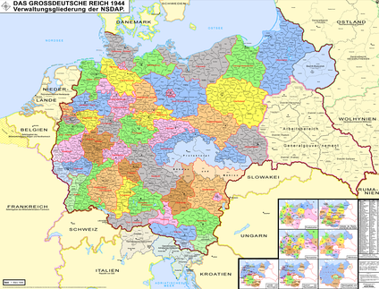 Administrative units of the Nazi Party in 1944