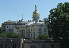 The New Jersey State House is topped by its golden dome in Trenton.