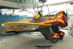 P-26A replica '37' on loan at Museum of Flight in the markings of 73rd Pursuit Squadron 'Golden Bears'.