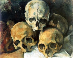 Pyramid of Skulls, c. 1901, The dramatic resignation to death informs several still life paintings Cézanne made in his final period between 1898 and 1905 which take the skulls as their subject. Today the skulls themselves remain in Cézanne's studio in a suburb of Aix-en-Provence.