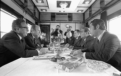 The American and Soviet delegations in conversation aboard a Soviet train en route to Okeanskaya