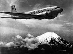 USN R4D-8 from VR-23 Codfish Airline over Mount Fuji, 1952