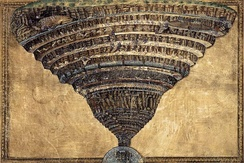 The Abyss of Hell, coloured drawing on parchment by Sandro Botticelli (1480s)