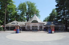 An entrance to the Saratoga Race Course in Saratoga Springs.