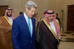 Crown Prince Mohammad bin Nayef with U.S. Secretary of State John Kerry, 6 May 2015