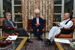 From left to right: Abdullah Abdullah, John Kerry and Ashraf Ghani during the 2014 presidential election
