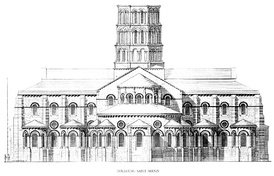 St-Sernin basilica, Toulouse, France: elevation of the east end (1080–1120).