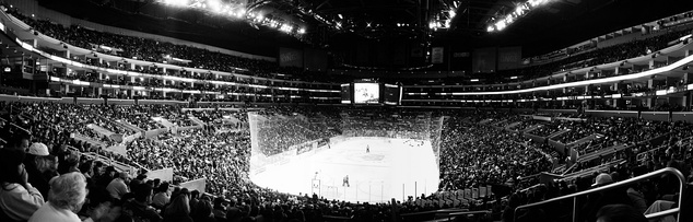 Panoramic view of a Los Angeles Kings ice Hockey game at the Staples Center in Los Angeles, California.