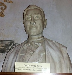 A bust of Don Giuseppe Rizzo, kept inside the Civic Library of Alcamo.