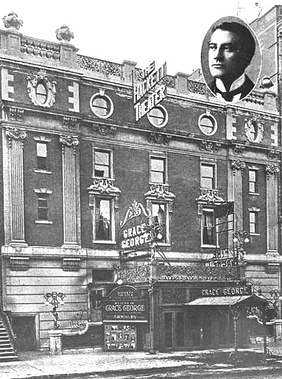 photo of exterior of The Hackett Theater in 1909, with signs announcing that actress Grace George is starring; inset shows photo of James K. Hackett's face