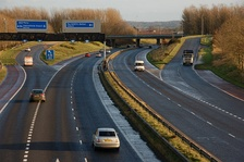 The M1 heading south at Moira Roundabout
