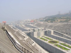 Ship locks for river traffic to bypass the Three Gorges Dam, May 2004