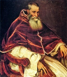 """Pope Paul III"" (Artist: Titian) 1490–1576, c. 1543, Reign 13 October 1534 – 10 November 1549, Presided over part of the Council of Trent"