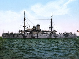 USS Texas, built in 1892, was the first pre-dreadnought battleship of the United States Navy. Photochrom print c. 1898.