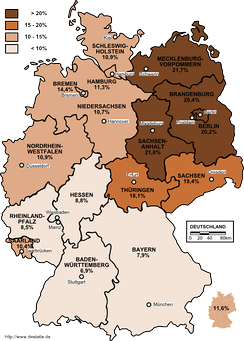 Unemployment rate in Germany in 2003 by states.