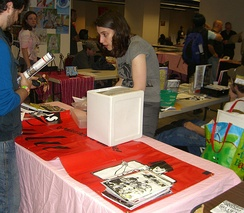 Friends of Lulu President Valerie D'Orazio at the Friends of Lulu table at the Big Apple Con, November 15, 2008