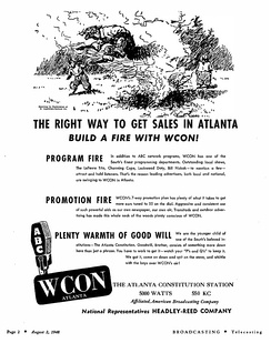 1948 advertisement for the Constitution's AM radio station WCON.