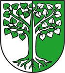 "Arms of Behnsdorf: ""per pale Argent and Vert a tilia eradicated counterchanged"""