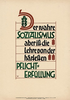 "Wochenspruch der NSDAP 8 June 1941: ""True socialism, however, is the doctrine of the strictest performance of duty."""
